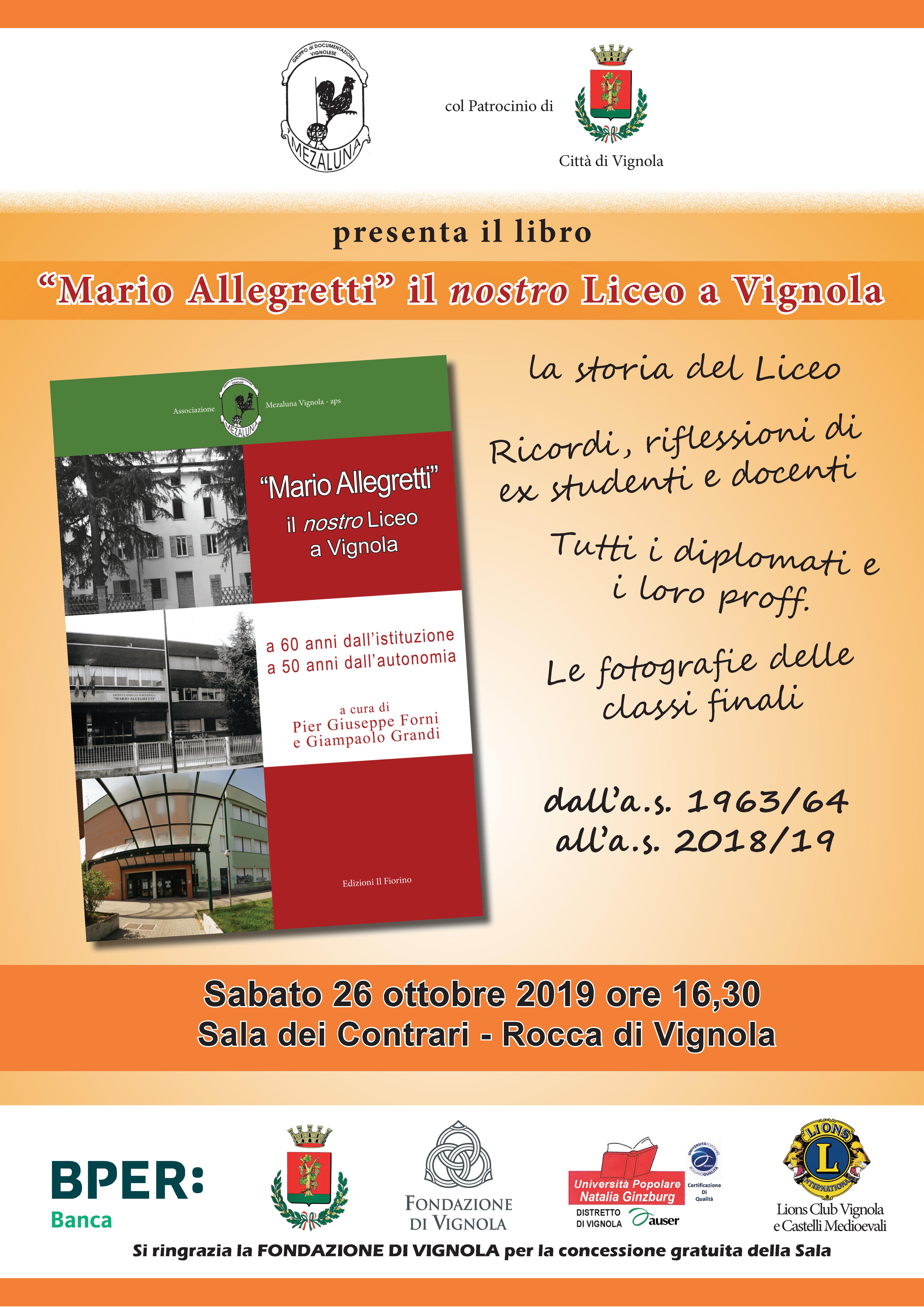 Volantino presentazione libro Mrio Allegretti il nostro Liceo a Vignola
