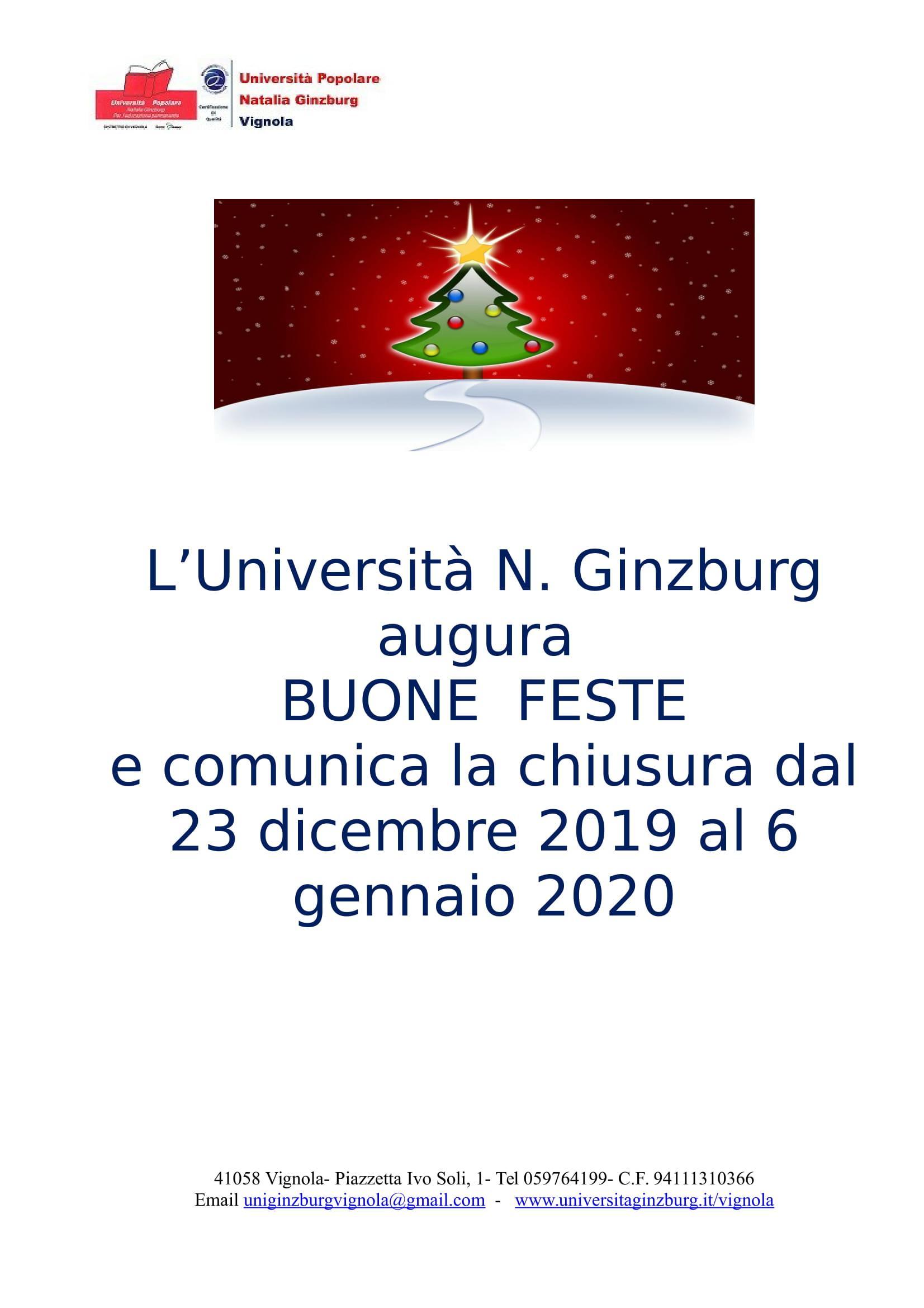L'Università Natalia Ginzburg augura Buone Feste a tutti!