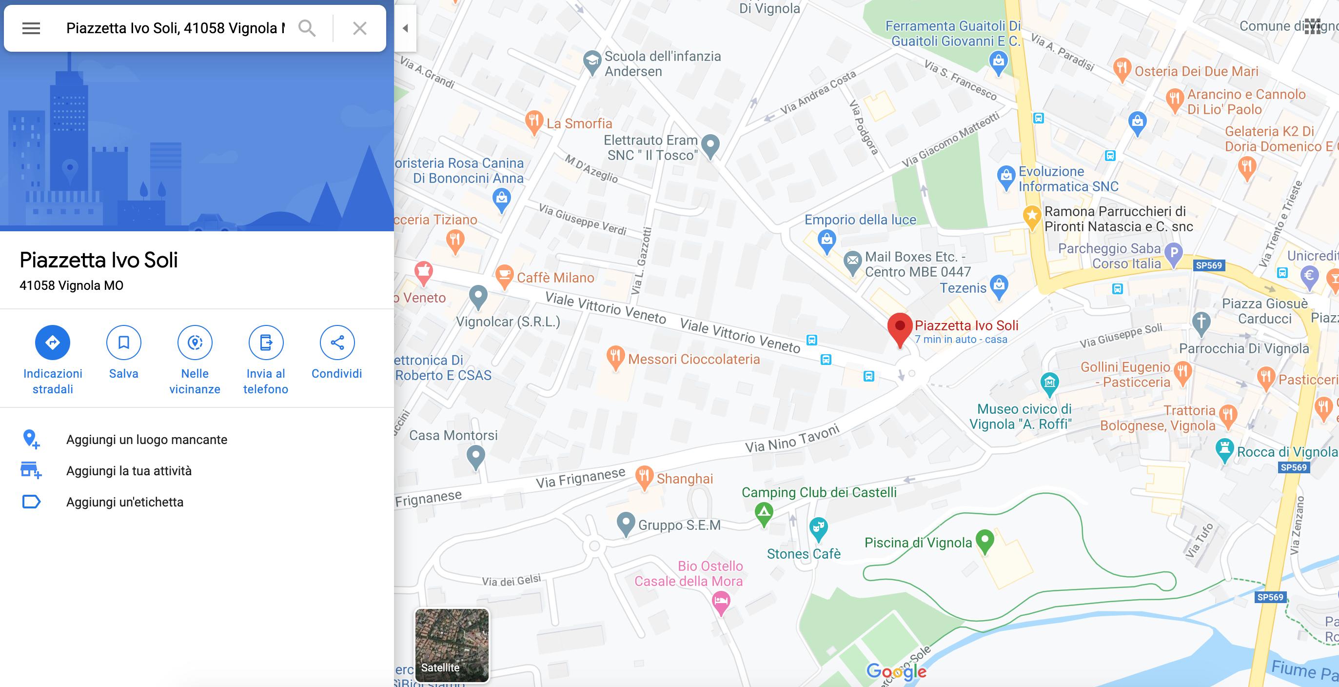 Mappa Università Natalia Ginzburg - Vignola