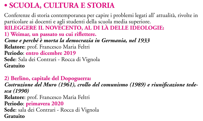 SCUOLA, CULTURA E STORIA