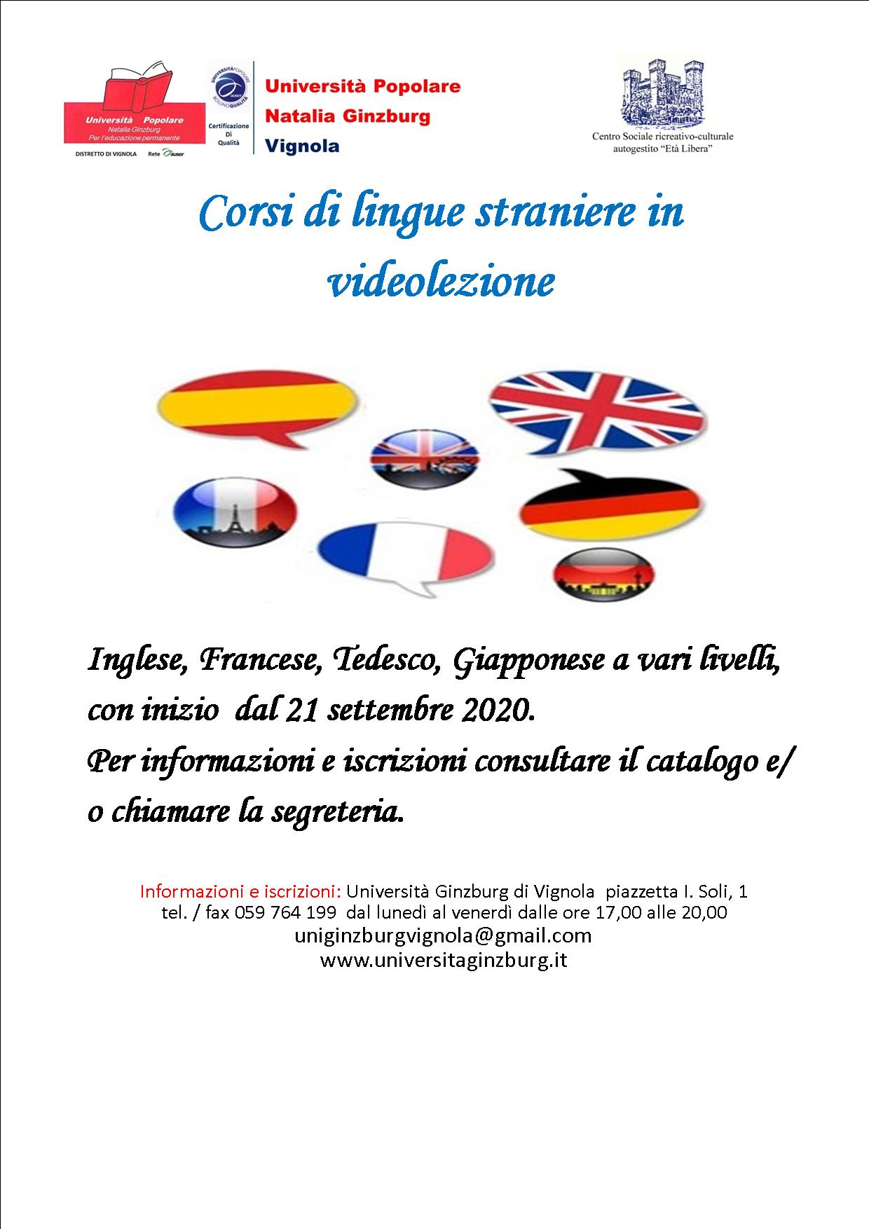 Volantino Corsi di lingue straniere Settembre 2020